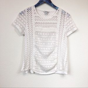 Lucky Brand White Embroidered Lace T-Shirt Blouse